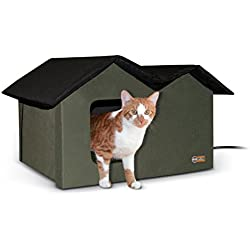 """K&H Pet Products Outdoor Heated Kitty House Extra-Wide Olive/Black 26.5"""" x 15.5"""" x 21.5"""" 20W"""