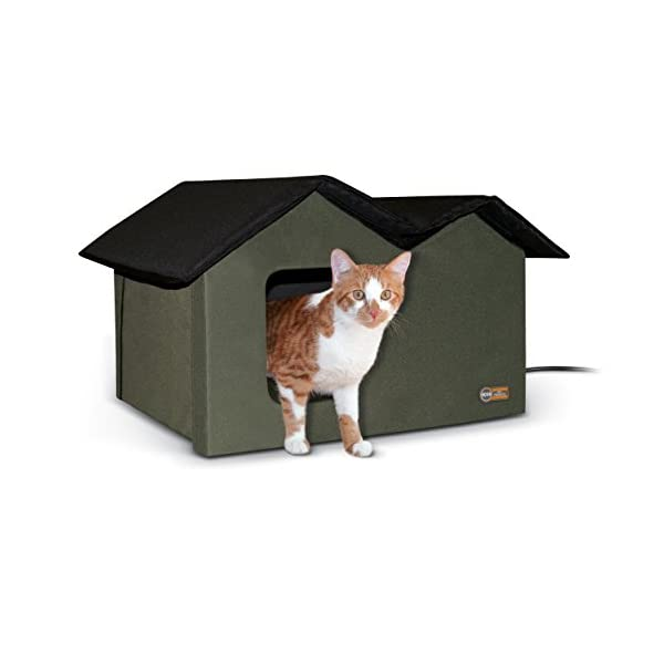 K&H Pet Products Outdoor Heated Kitty House Extra-Wide Olive/Black 26.5″ x 15.5″ x 21.5″ 20W