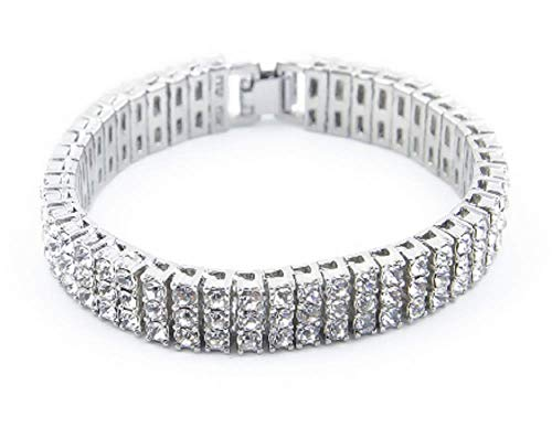 Starryinter 3 Rows 8-Inch Iced Out Rhinestone Tennis Chain Men's Women's Bling Hip Hop Bracelet Colors Selectable-BR475 (Silver) ()