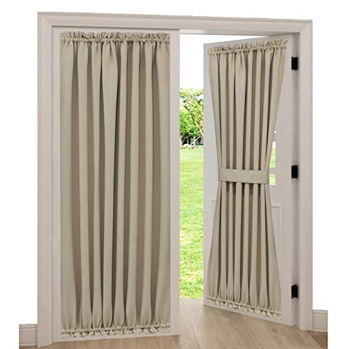 Spring Garden Home Blackout Patio Door Curtain Panels for Privacy Decorative French Door Thermal Blackout Curtains Window Drapery, 1 Piece, 54 inch Wide by 72 inch Long, Warm Beige (Pocket Top Bottom Rod Curtains And)