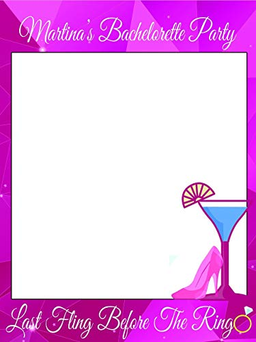 Custom Home Decor Martini Glass & Stilettos Pink Bachelorette Photo Booth Frame- Size 36x24, 48x36; Personalized Disco Club Bachelorette Party Photo Frame; Handmade DIY Party Supply Photo Booth Props ()