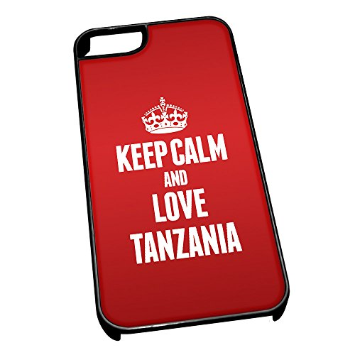 Nero cover per iPhone 5/5S 2292 Red Keep Calm and Love Tanzania