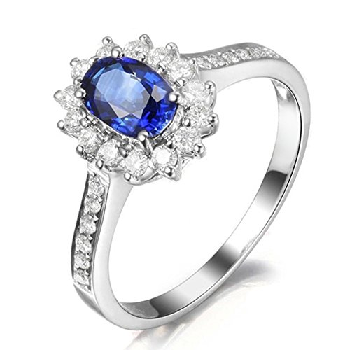 Genuine Natural Blue Sapphire Gemstone Real Diamond 14K Solid White Gold Women's Wedding Engagement Band Ring ()