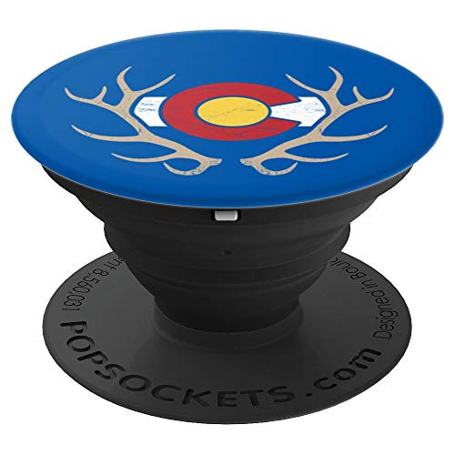 Colorado Elk Hunting - State Flag - Shed Antler Hunter - PopSockets Grip and Stand for Phones and Tablets