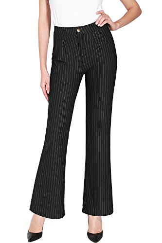 (2LUV Women's Stretch Pinstripe Faux Pocket Pull On Dress Pants Black S)