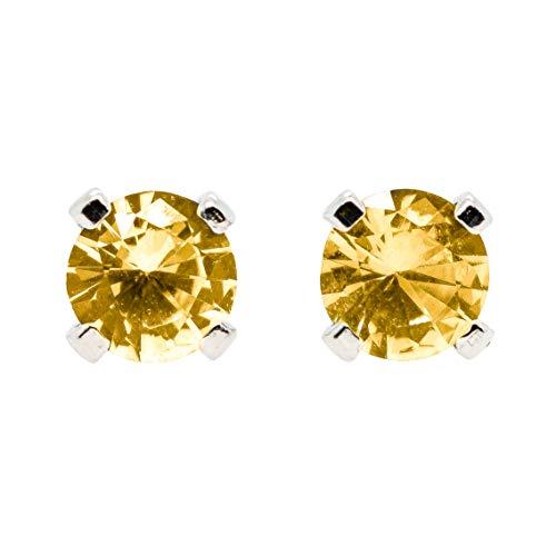 - 3mm Tiny Golden Yellow Orange Topaz Gemstone Post Stud Earrings in Sterling Silver - November Birthstone