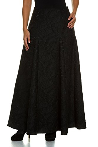 Ulla Popken Women's Plus Size Festive Long Pleated Skirt Black 12 707096 10 by Ulla Popken