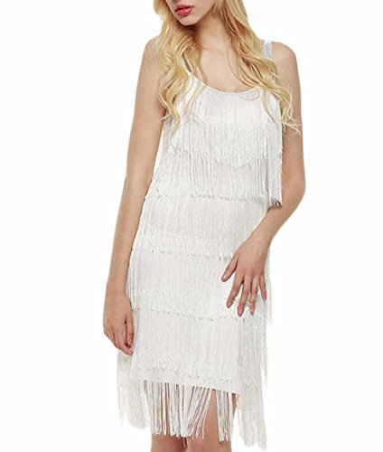 Celltronic Fashion Women Straps Dress Tassels Glam Party Dress Gatsby Fringe Flapper Costume (M Party Costumes)
