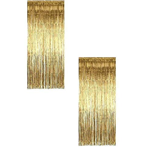 Ifavor123 Decorative Tinsel Foil Metallic Fringe Party Door Window Curtains – 3 Feet Wide X 8 Feet Long (2 Pack, Gold)