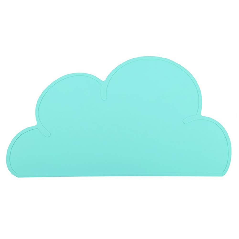 Naisicatar 1pc bebé manteles individuales antideslizante infantil del bebé Placa Tabla Forma Mat bebés de silicona cojín del aislamiento de la nube de cocina Mantel niños (azul) /