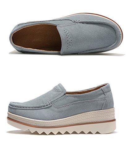 Guida Estivi Donna Platform Grigio Basse Ginnastica Scamosciata Moda Loafers Sneakers in Pelle Scarpe da 42 35 Blu Nero Comode Grigio Mocassini 4qdxzBwPq