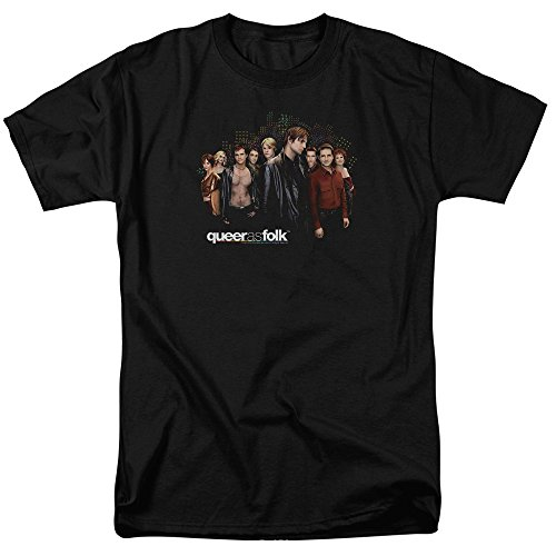 Trevco Unisex-Adults Queer As Folk Title T-Shirt, Black, ...