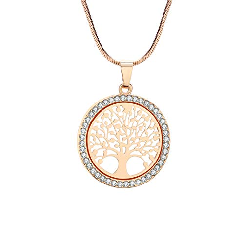 Tree Of Life Pendant Chain Necklace For Women Gold Color Rhinestones Girls Bridal Wedding B ()