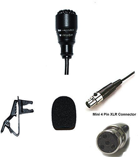 - Lavalier Lapel Mic with 4 pin mini XLR TA4F Connector for Shure Wireless