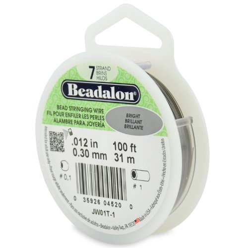 Beadalon 100-Feet 7-Strand Stainless Steel Bead Stringing Wire, 0.012-Inch, Bright