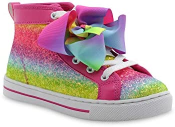 NEW Jojo Siwa Shoes size 1 Glitter Blue with Pink Bows High Tops Sneaker