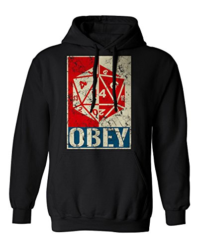 (RIVEBELLA New Graphic Shirt Obey The Dice D&D Novelty Tee Dungeons Men's Hoodie Hooded Sweatshirt (Black, XL))