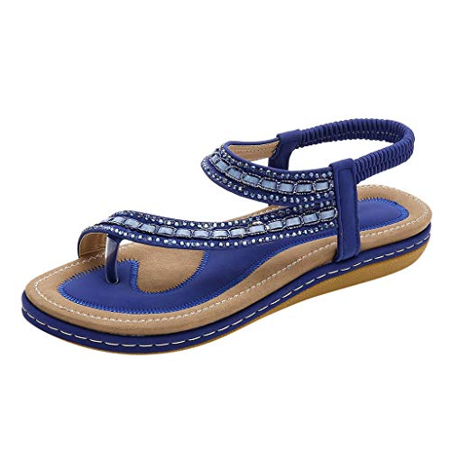 ❤LuluZanm Platform Sandals for Women,Sale Ladies Clip-Toe Flat Sandals Elastic Band Shoes Durable Hollow Out Sandals Blue