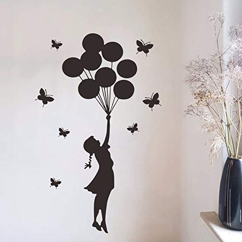 HHXX9 Butterfly Balloon Girl Black Silhouette Creative Wall Stickers Kids Room Girl Bedroom Home Decor DIY Self-Adhesive Decals 60X95Cm