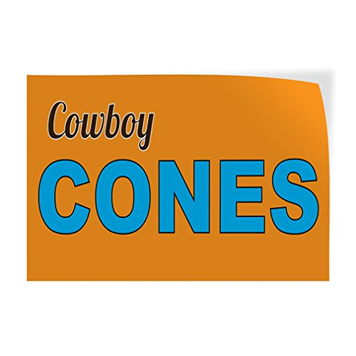 Decal Sticker Multiple Sizes Cowboy Cones Food & Beverage Cowboy Cone Outdoor Store Sign Yellow - 30inx20in, Set of - Beverage Cowboys