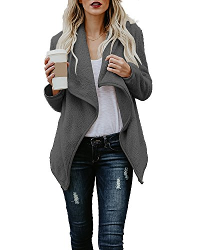 Romacci Women's Fleece Lapel Open Front Draped Sherpa Fuzzy Jacket Cardigans by Romacci