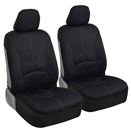 BDK Stitched Neoprene Car Seat Covers - Comfortable Polyester Protection - Gray Accent Stitching ()