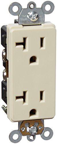 Morris 82180 Industrial Grade Decorative Duplex Receptacle, 20 Amp Current, 125V, Ivory - Decorative Duplex Receptacle