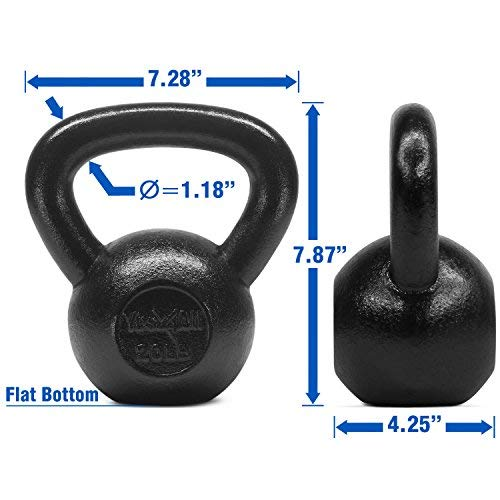 Yes4All Solid Cast Iron Kettlebell Weights Set – Great for Full Body Workout and Strength Training – Kettlebell 20 lbs (Black) by Yes4All (Image #2)