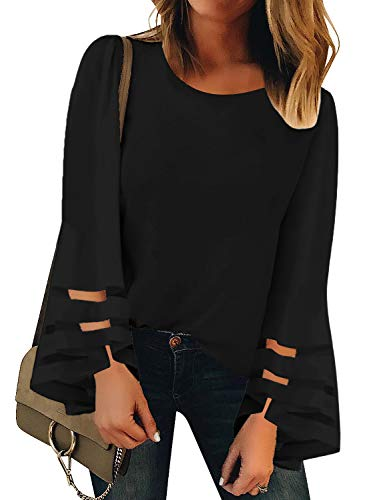 Vetinee Women's Black Long Bell Sleeve Shirt Mesh Panel Blouse Crewneck Casual Loose Tops X-Large (US-16-18)