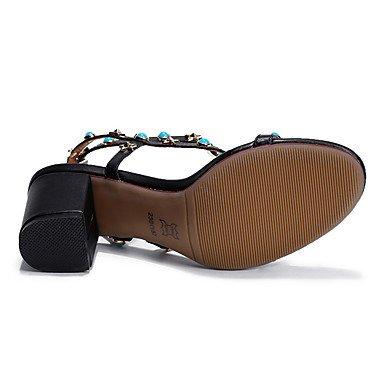 LvYuan Tacón Robusto-Zapatos del club-Sandalias-Fiesta y Noche Vestido Informal-Cuero-Negro Blanco Black