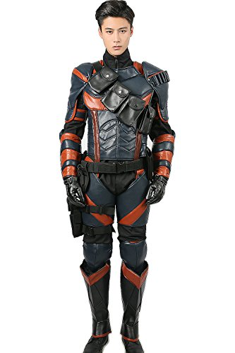 Deathstroke Costume Deluxe PU Armor Suit Mask Halloween Adult Cosplay Outfit XL -