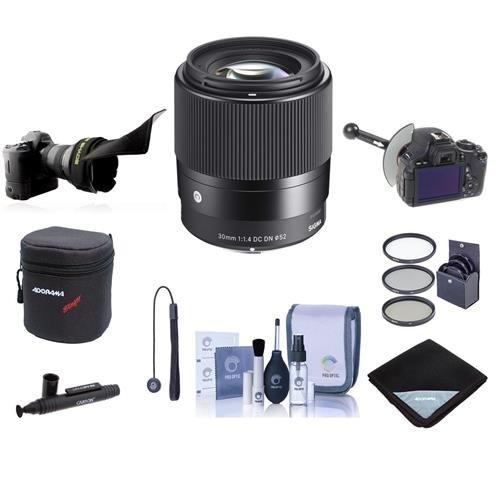 シグマ30 mm f/1.4 DC DN Contemporaryレンズfor micro4 /3sカメラ – Bundle w/フィルタキット、Flexレンズシェード、focusshifter DSLRフォローフォーカス、レンズケース、クリーニングキット、Capleash、Lenspenクリーナー、レンズラップ   B01GP9DL9G