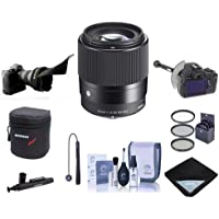 Sigma 30mm f/1.4 DC DN Contemporary Lens for Micro4/3s Cameras - Bundle w/Filter Kit, Flex Lens Shade, FocusShifter DSLR Follow Focus, Lens Case, Cleaning Kit, Capleash, LensPen Cleaner, Lens Wrap