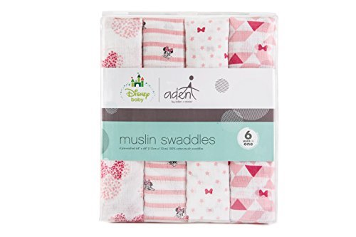 aden by aden + Anais Disney Swaddle Baby Blanket, 100% Cotton Muslin, 44 X 44 inch, 4 Pack, Minnie Mouse