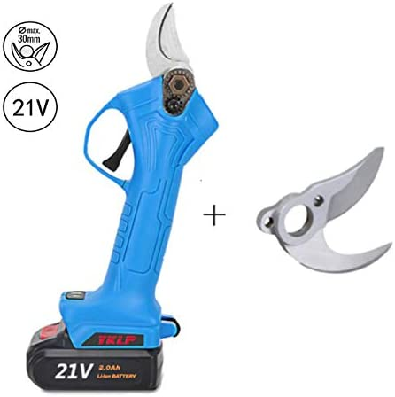 JIUNENG Electric Pruning Shears Cordless, Lithium Battery Tree Branch Pruner,30mm 1.2 Inch Cutting Diameter 21V with Matched Cutter Head