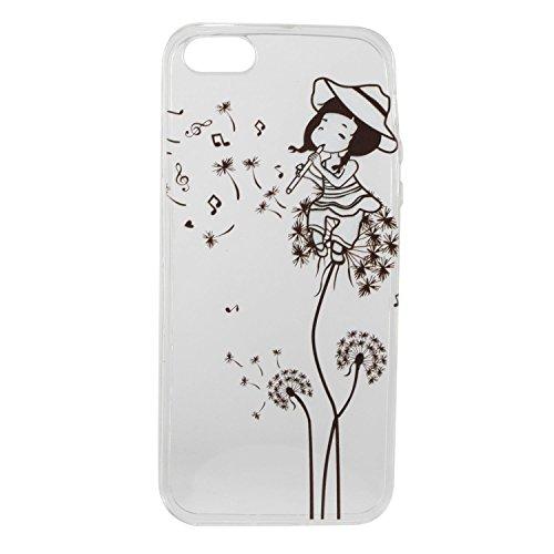 Für Apple iPhone 5 5G 5S / iPhone SE (4 Zoll) Hülle ZeWoo® TPU Schutzhülle Silikon Tasche Case Cover - HX009 / Löwenzahn -Mädchen
