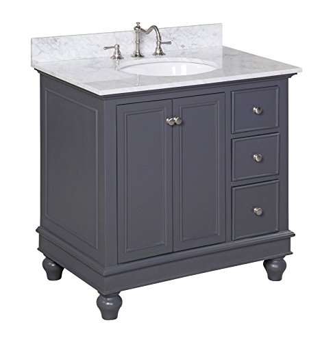 Kitchen Bath Collection KBC2236GYCARR Bella Bathroom Vanity with Marble Countertop, Cabinet with Soft Close Function and Undermount Ceramic Sink, Carrara/Charcoal Gray, 36'