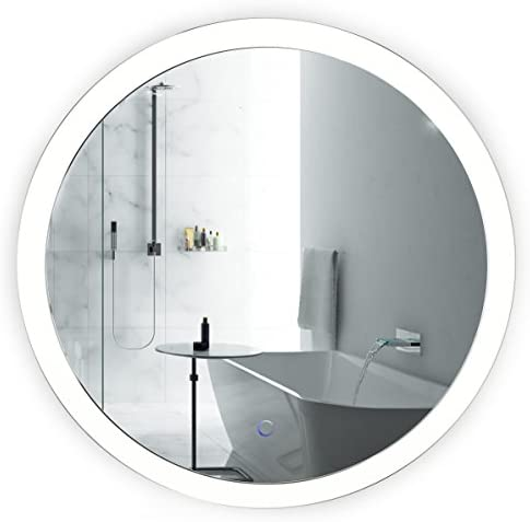 Krugg LED Bathroom Round Mirror 27 Inch Diameter Lighted Vanity Mirror Includes Dimmer and Defogger Silver Backed Gla