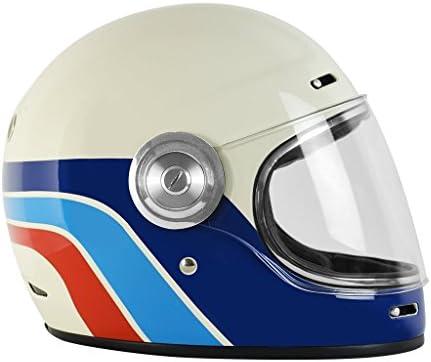 Origine Vega - Casco integral de fibra de vidrio, estilo Café Racer, vintage L Classic White