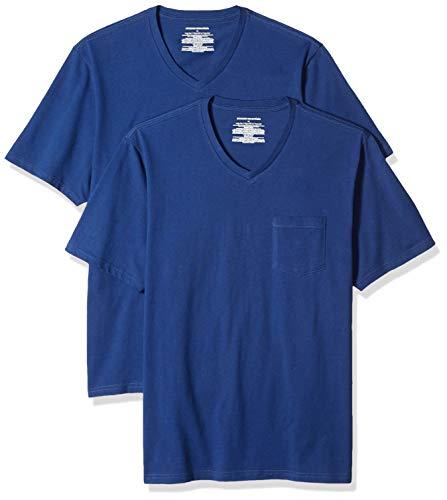 Blu Pocket - Amazon Essentials Men's 2-Pack Loose-fit V-Neck Pocket T-Shirt, Blue, Large