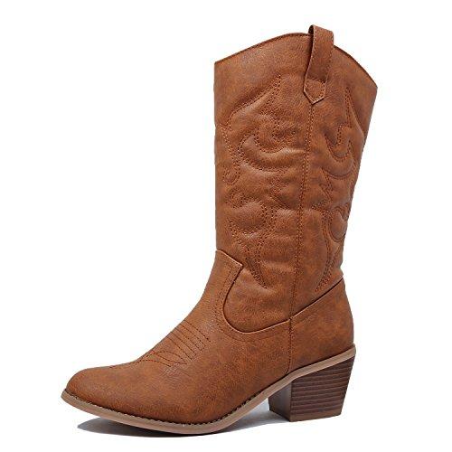(West Blvd Miami Cowboy Western Boots, Tan Pu, 9)