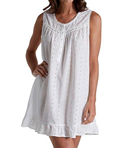 La Cera 100% Cotton Woven Embroidered Short Gown (1333C) L/White