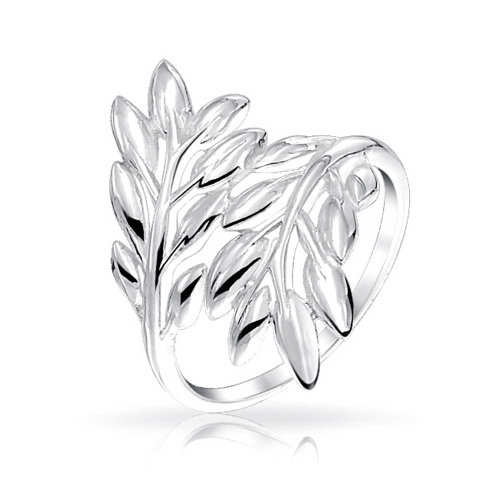 Nature Ivy Laurel Vine Fashion Leaf Bypass Ring For Women For Teen 925 Sterling Silver (Vine Ring 925)