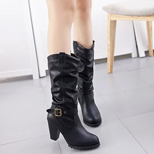 Round Head High Rough Boots Winter The United and Black Buckle Autumn Belt and States Europe Fashion vzqw68Pgx