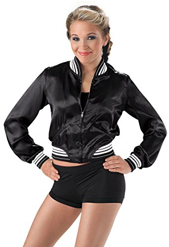 - Balera Urban Groove Satin Baseball Jacket Zip Front Black Adult Medium