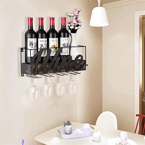 CSmile Iron Wine Rack Wall Mounted Black Wine Glass Rack Wine Cork Holder Gifts Come with Wine Opener by CSmile (Image #4)