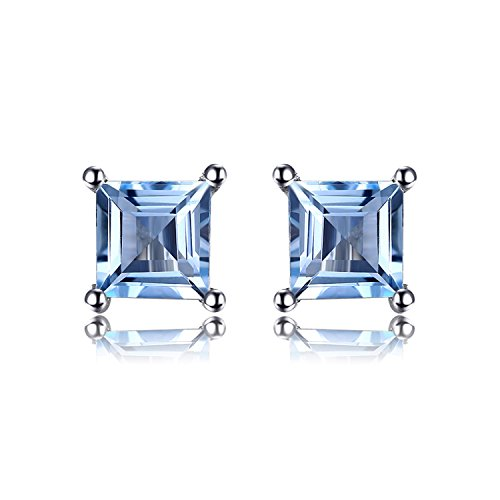 Jewelrypalace Gemstones Stone Birthstone Natural Blue Topaz Stud Earrings For Women 925 Sterling Silver Earrings For Girls Blue Sapphire Blue Topaz Earrings
