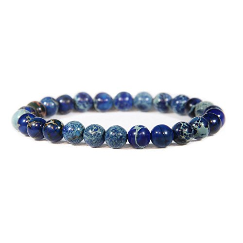 (Big Cat Rescue Genuine Imperial Blue Jasper Stone Bead Stretchy Elastic Bracelet, Earth Healing, 8mm, Unisex, for Friendship, Couples, Teens,Genuine Imperial Blue Jasper Stone Bead Stretchy Elastic)