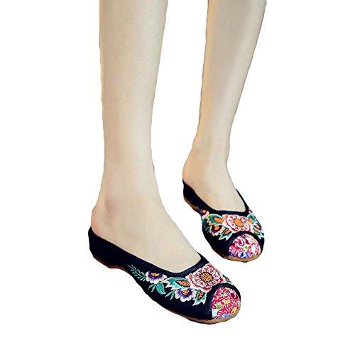 Chuangli Womens Mocassini Ricamo Oxford Pantofole Sandali Punta Tonda Backless Slip On Mule Flats Nero