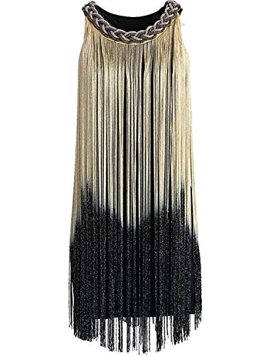 Kaured Elegant Women's Chain Neck Swing Ombre Draping Tassel Flapper Gatsby Cocktail Dress,X-Small/Small,OmbreBeige -